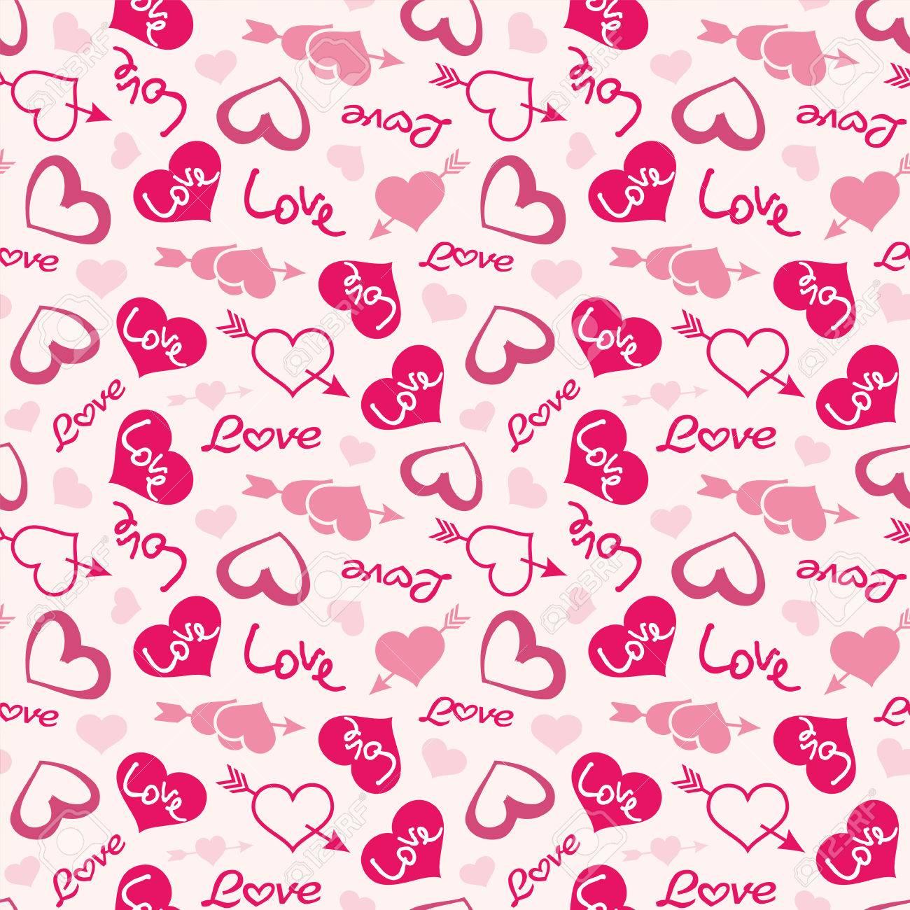 Love theme hearts valentine's day seamless pattern wallpaper