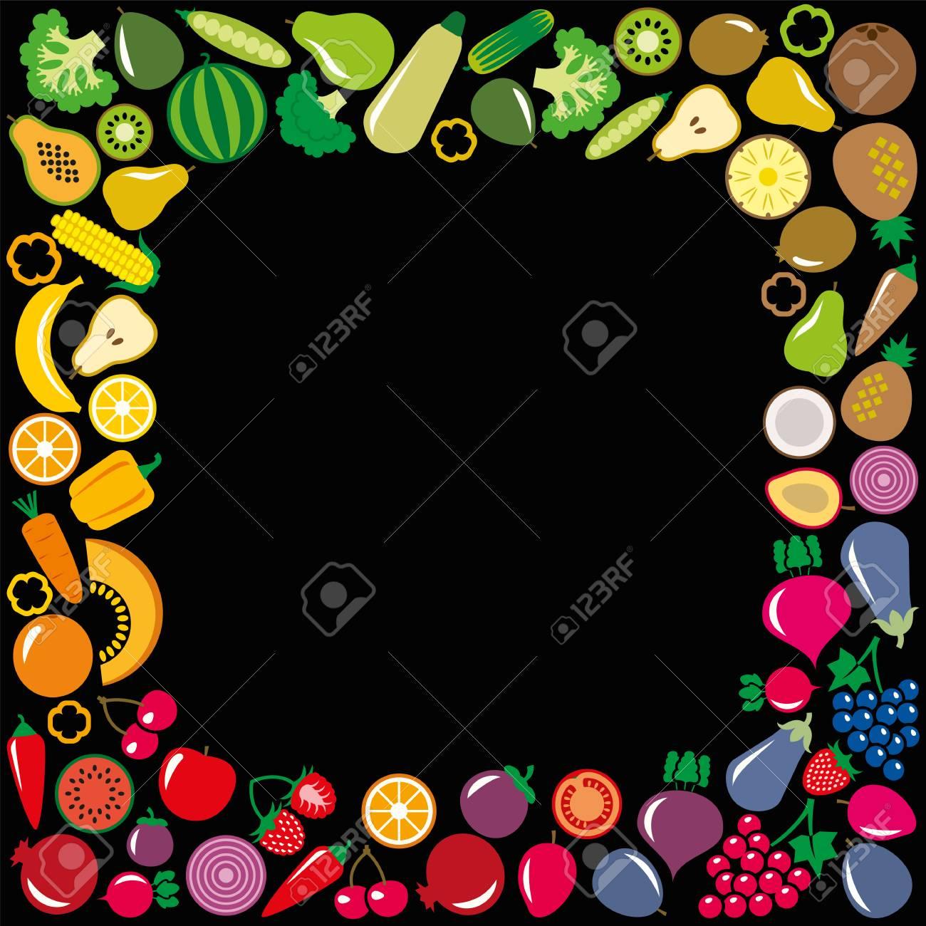 Set Von Gemüse Und Obst Symbole Abbildung Quadrat Rahmen Hintergrund ...