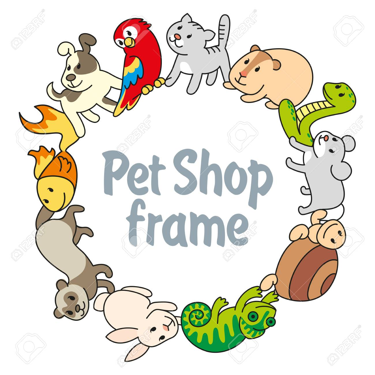 ラウンド フレーム ペット ショップペット各種イラストの動物を漫画