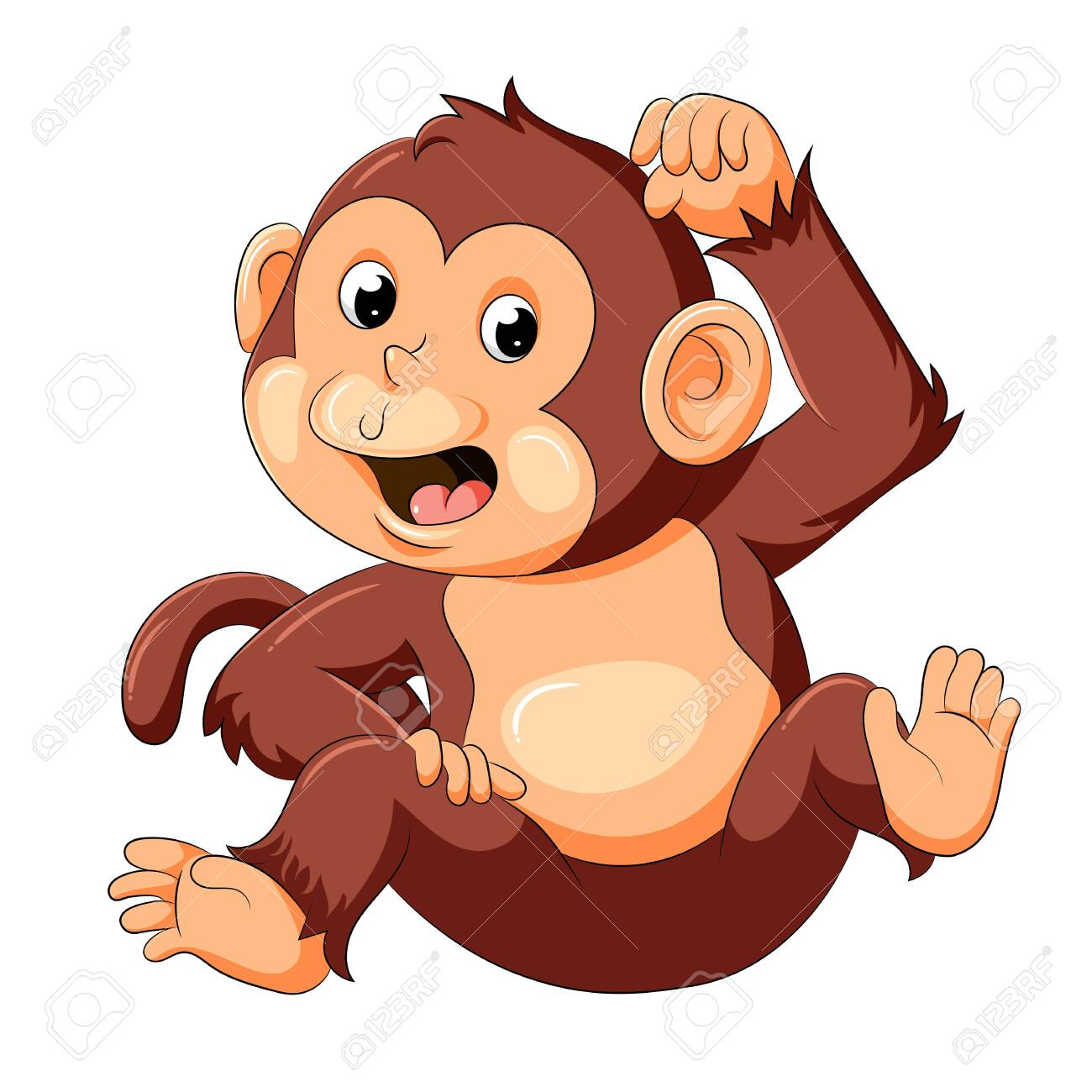 illustration of baby monkey with good posing - 128159903