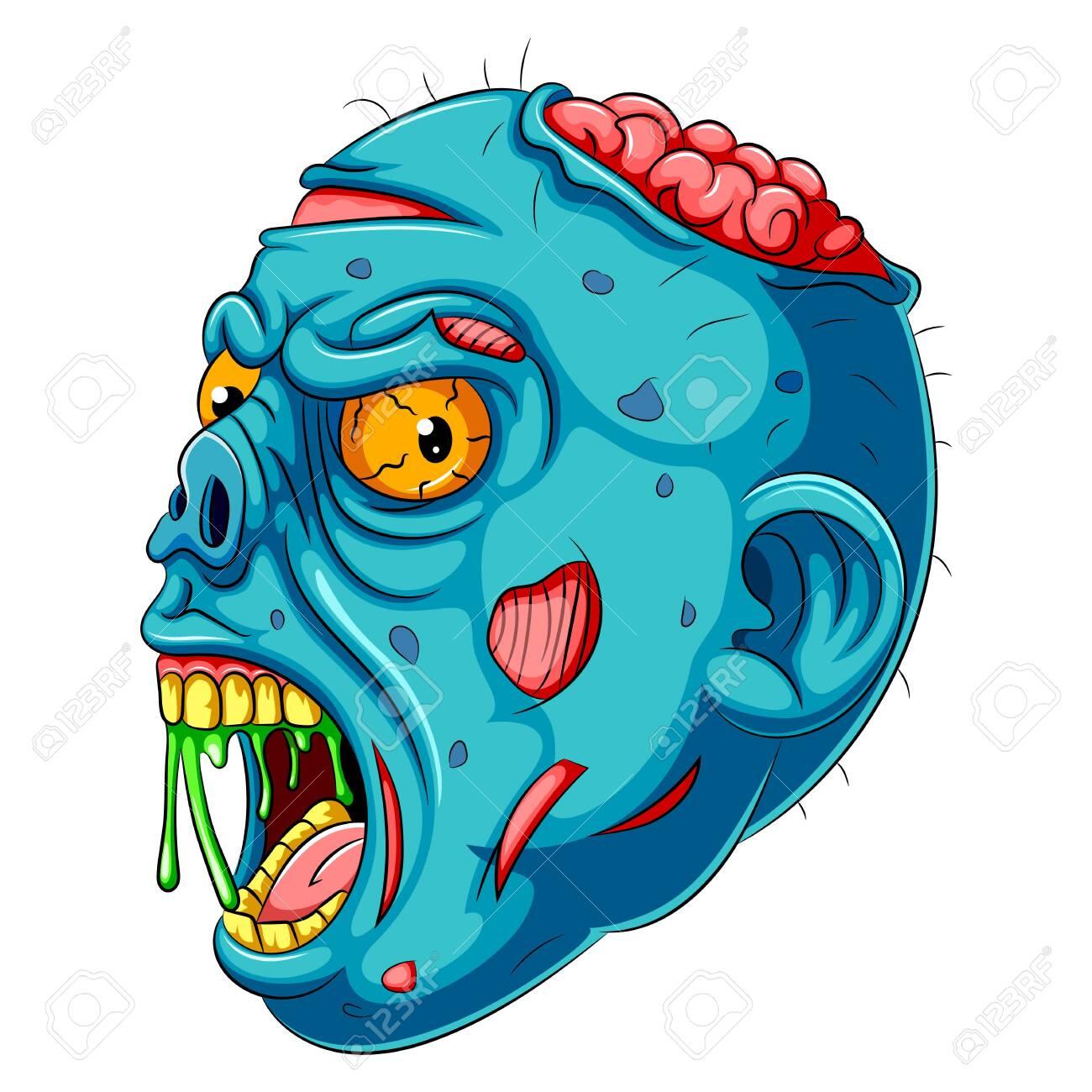illustration of A Cartoon blue Zombie head - 128159957