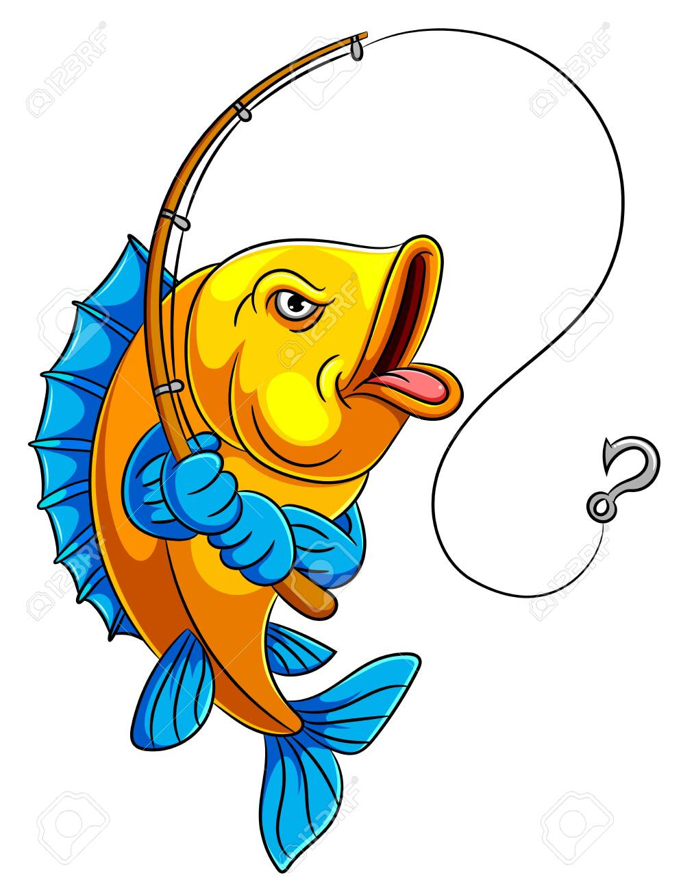 Illustration Of A Cartoon Fish Holding Fishing Rod Royalty Free Cliparts Vectors And Stock Illustration Image 128159964