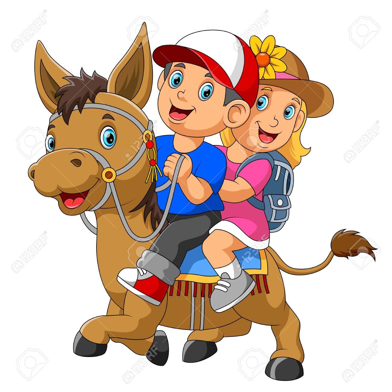 A boy and girl riding horse - 128160113