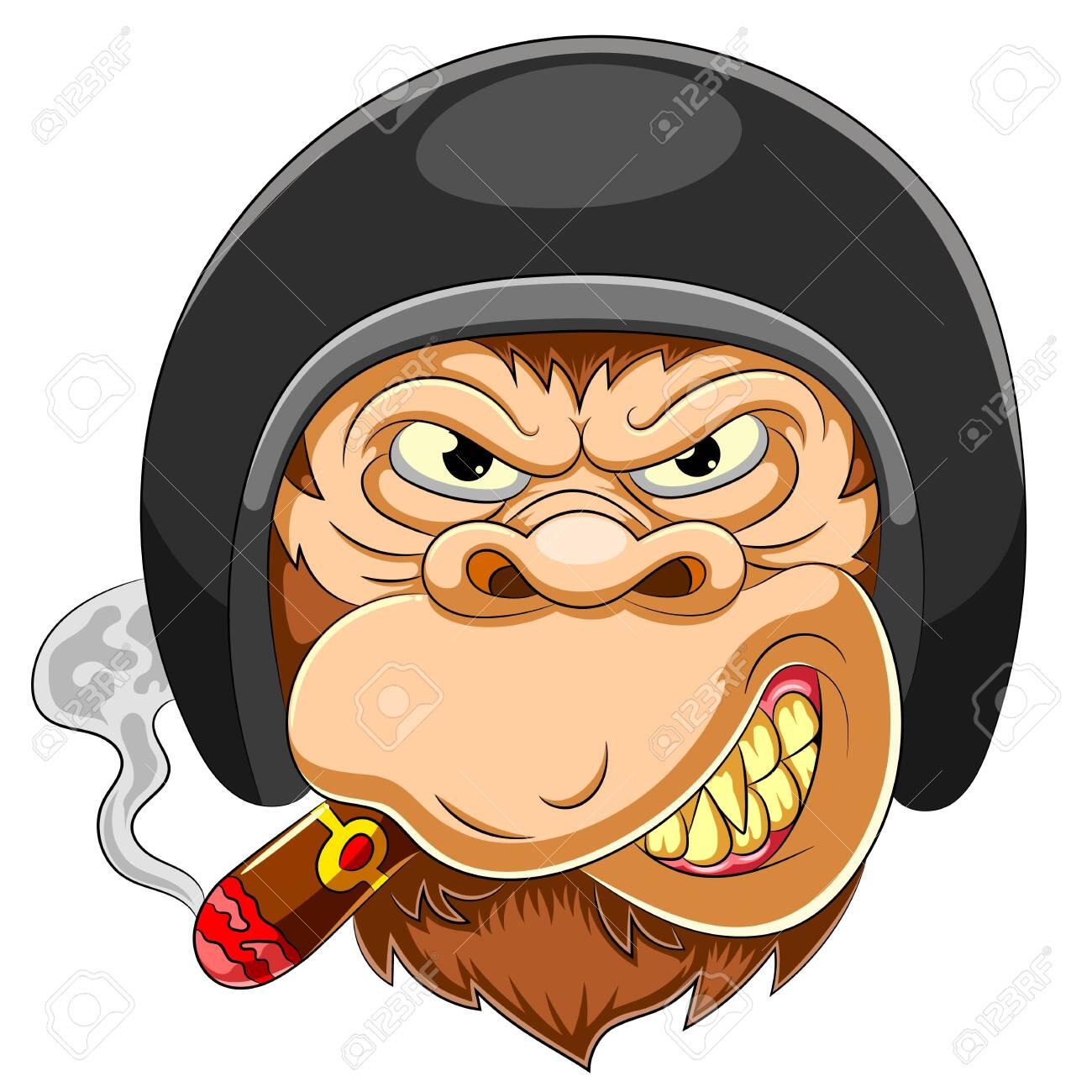 Scary Monkey wearing helmet of Racer of illustration - 150168629
