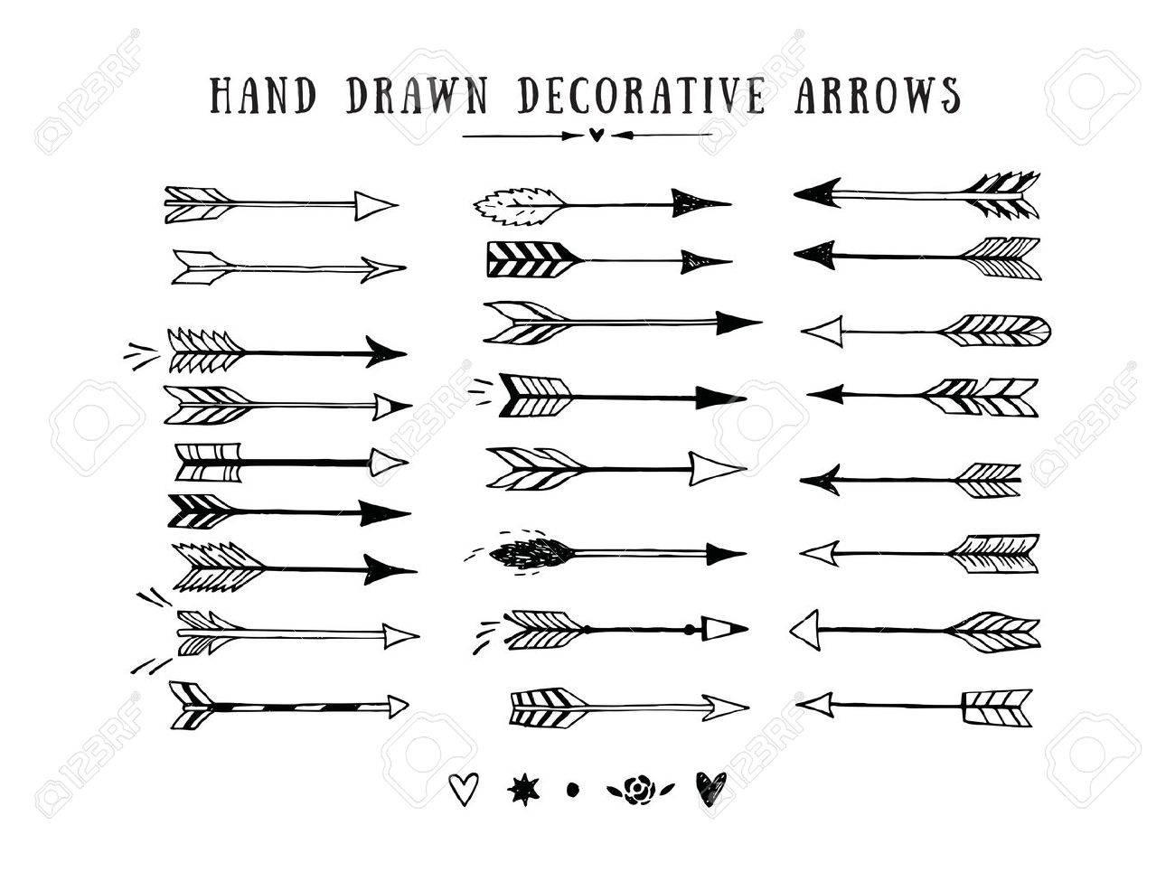 Vector vintage decorative arrows set. Hand drawn vector design elements - 54695759