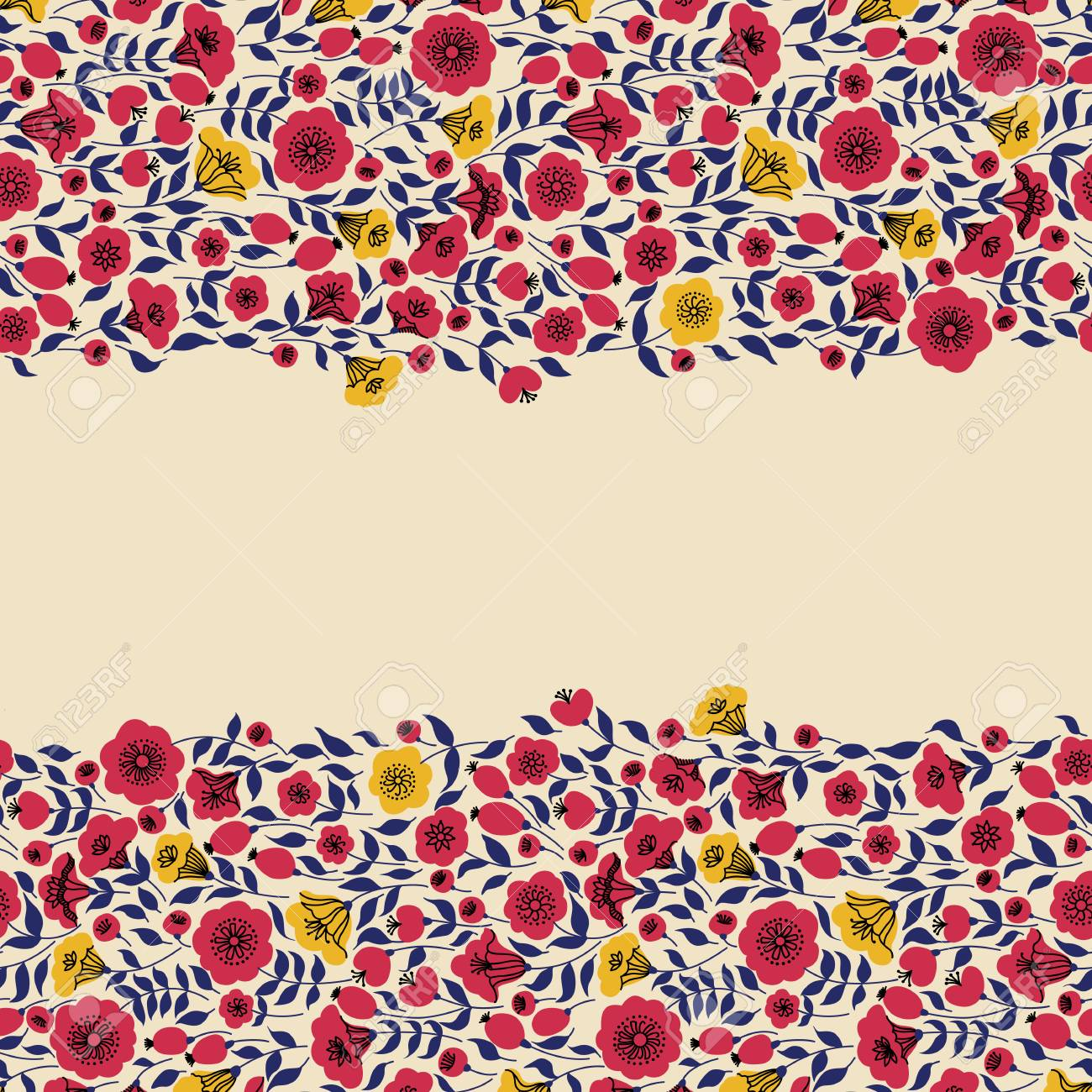 Floral Vintage Banner With Place For Your Text Retro Wallpapers