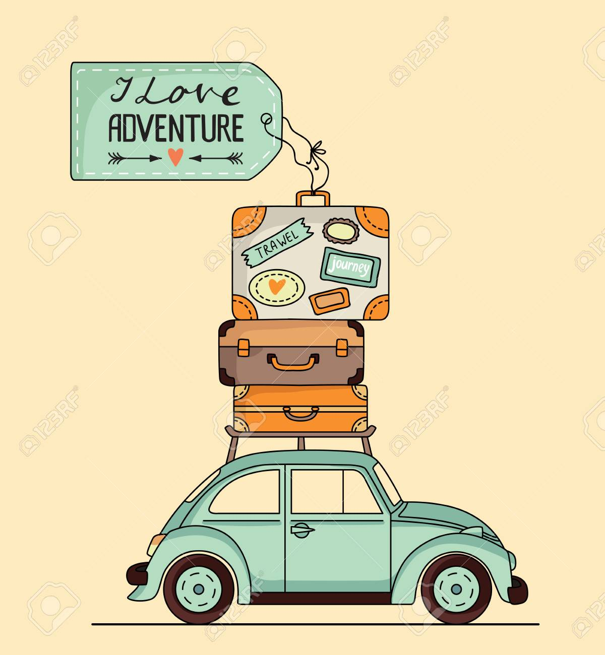 Vector Illustration Retro Car With Luggage On The Roof And Space