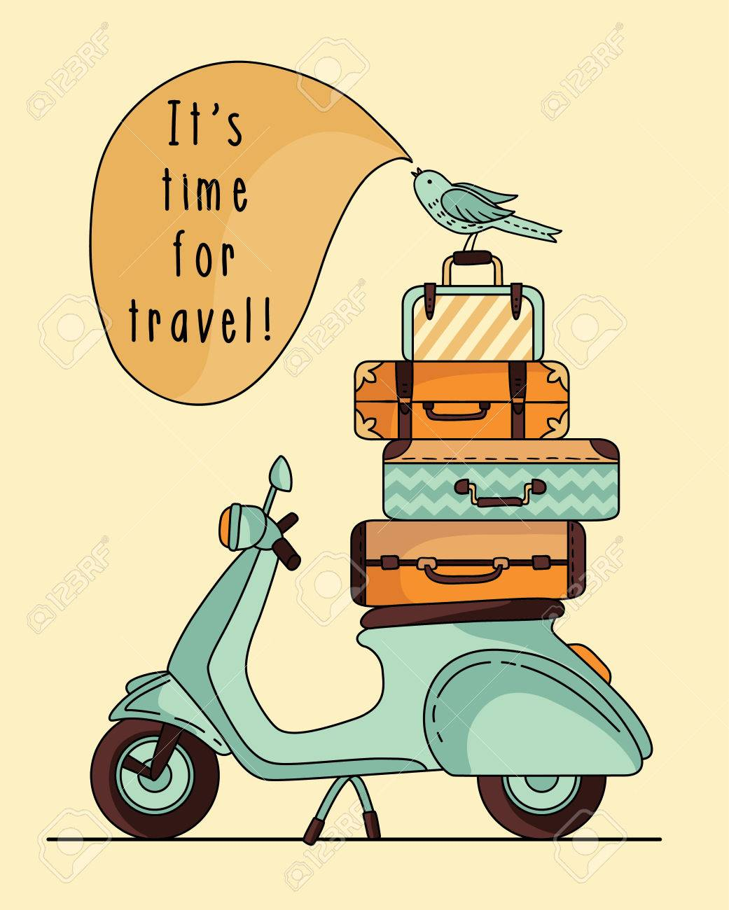 Vintage Scooter Poster Design Scooter With Baggage Royalty Free Cliparts Vectors And Stock Illustration Image 54701180