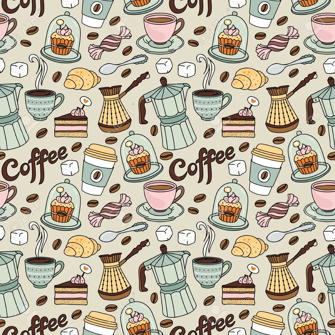 Seamless pattern with coffee and sweet. Coffee background - 54753494