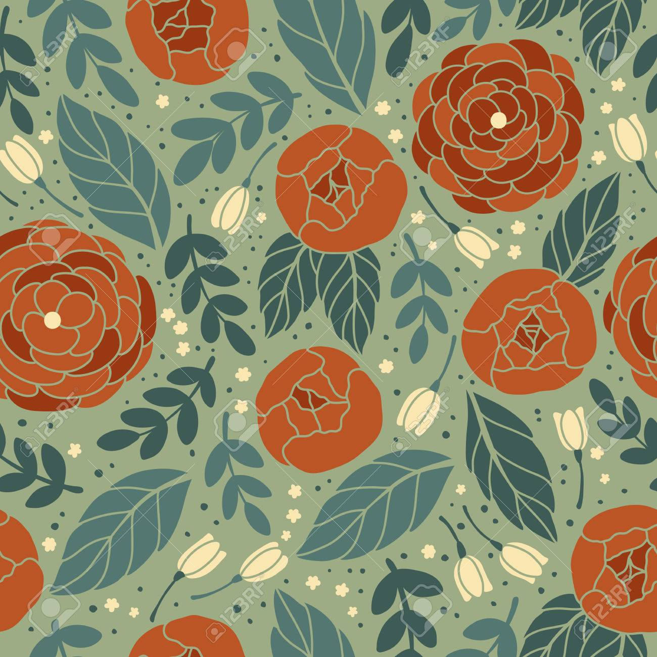Vector Seamless Vintage Pattern With Flower Can Be Used For