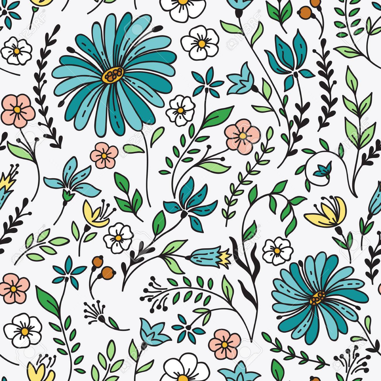 Seamless Vintage Pattern With Camomile And Flowers Can Be Used