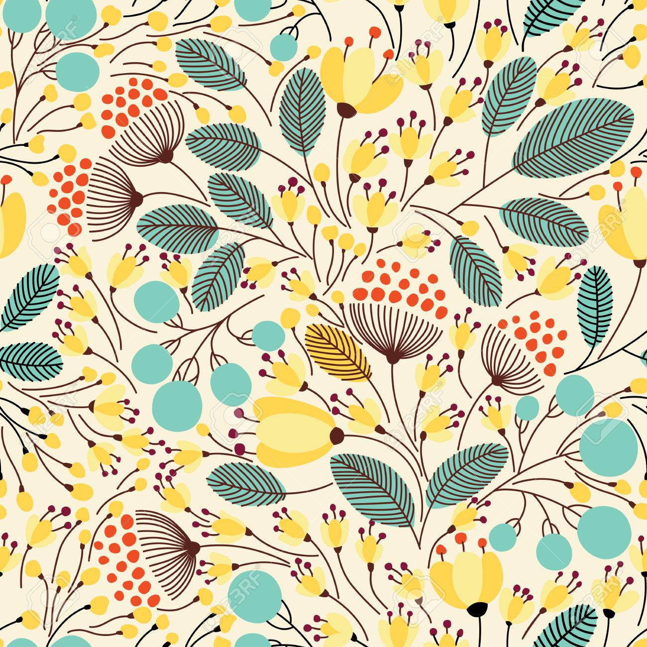 Elegant seamless pattern with flowers, vector illustration - 54755322