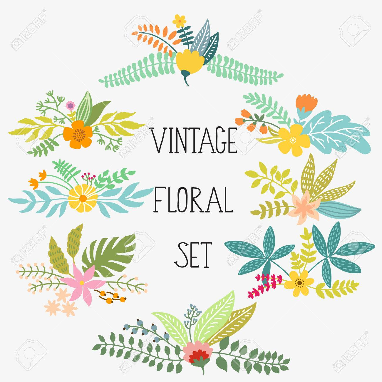 Vector set with vintage flowers - 54755346