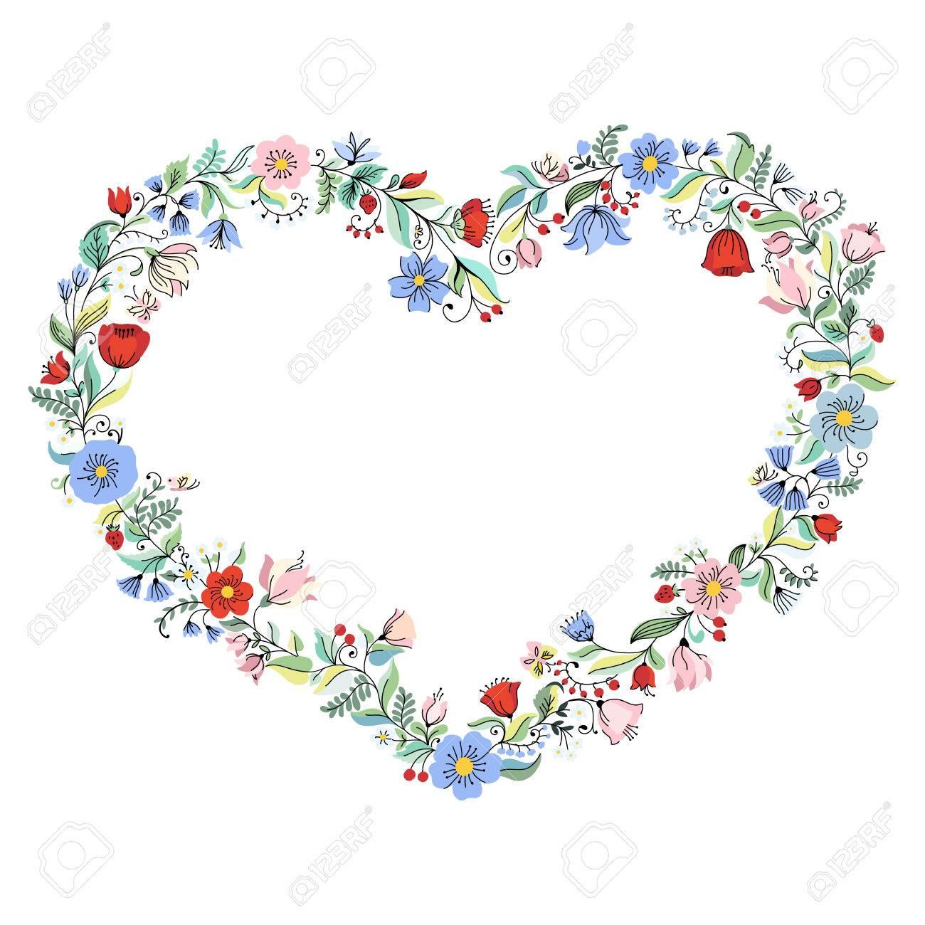 Illustration Mit Blumen Herz Kann Fur Hochzeit Einladung Karte