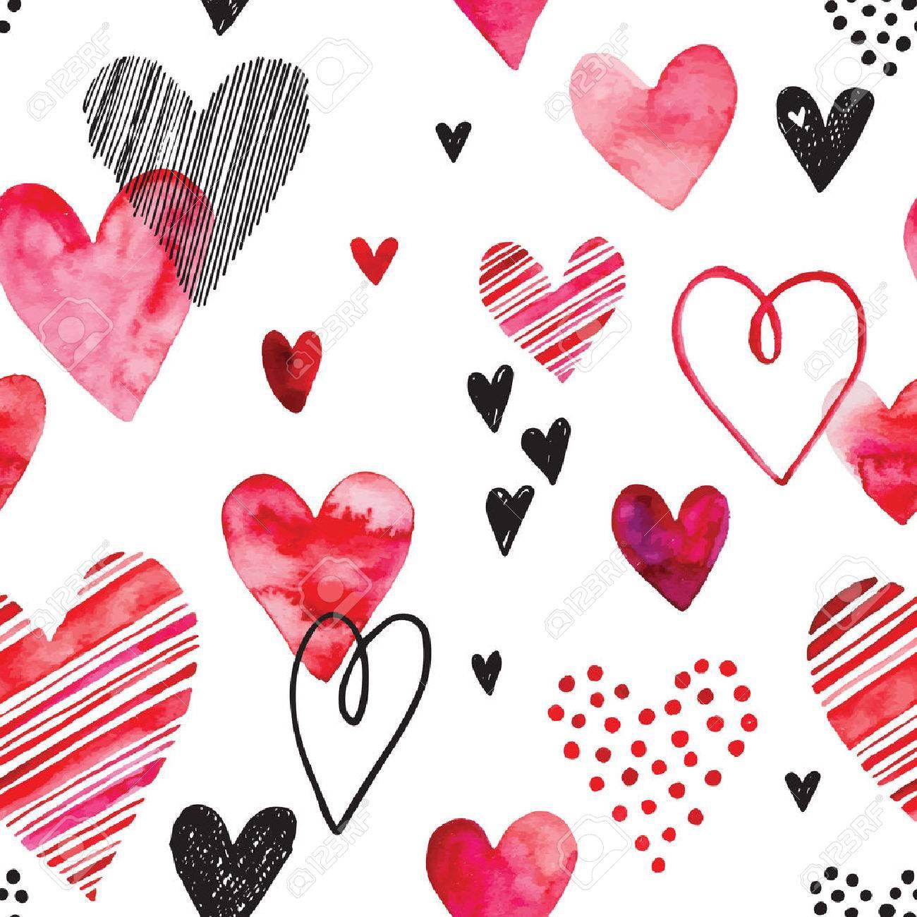 Herz Muster, Vektor Nahtlose Hintergrund. Kann Für Hochzeit, Einladung,  Karte Für