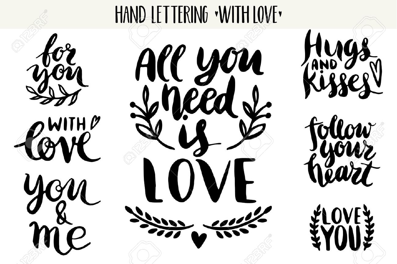 Quotes Valentine Lettering Love Collection Hand Drawn Lettering