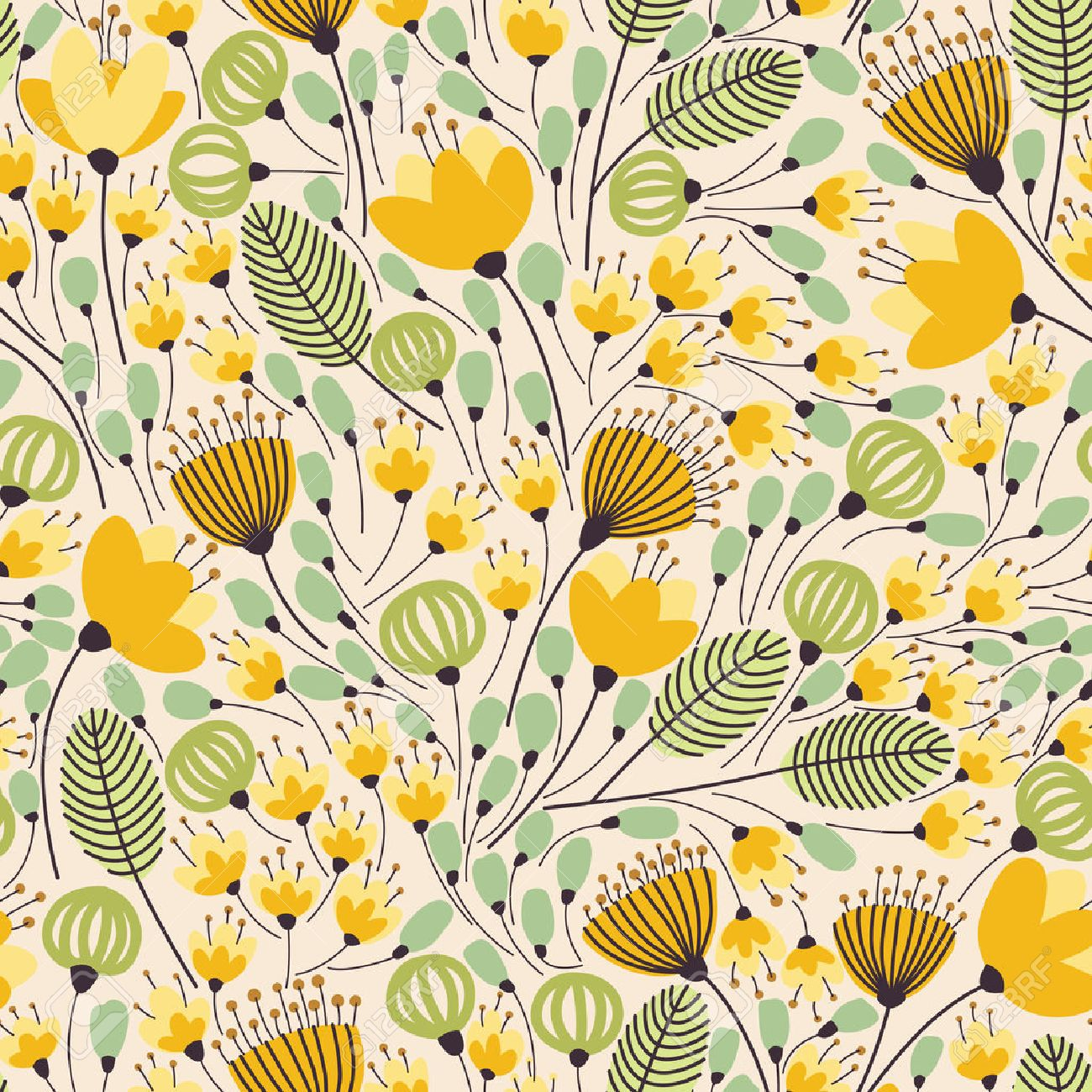 Elegant seamless pattern with flowers, vector illustration - 54807731