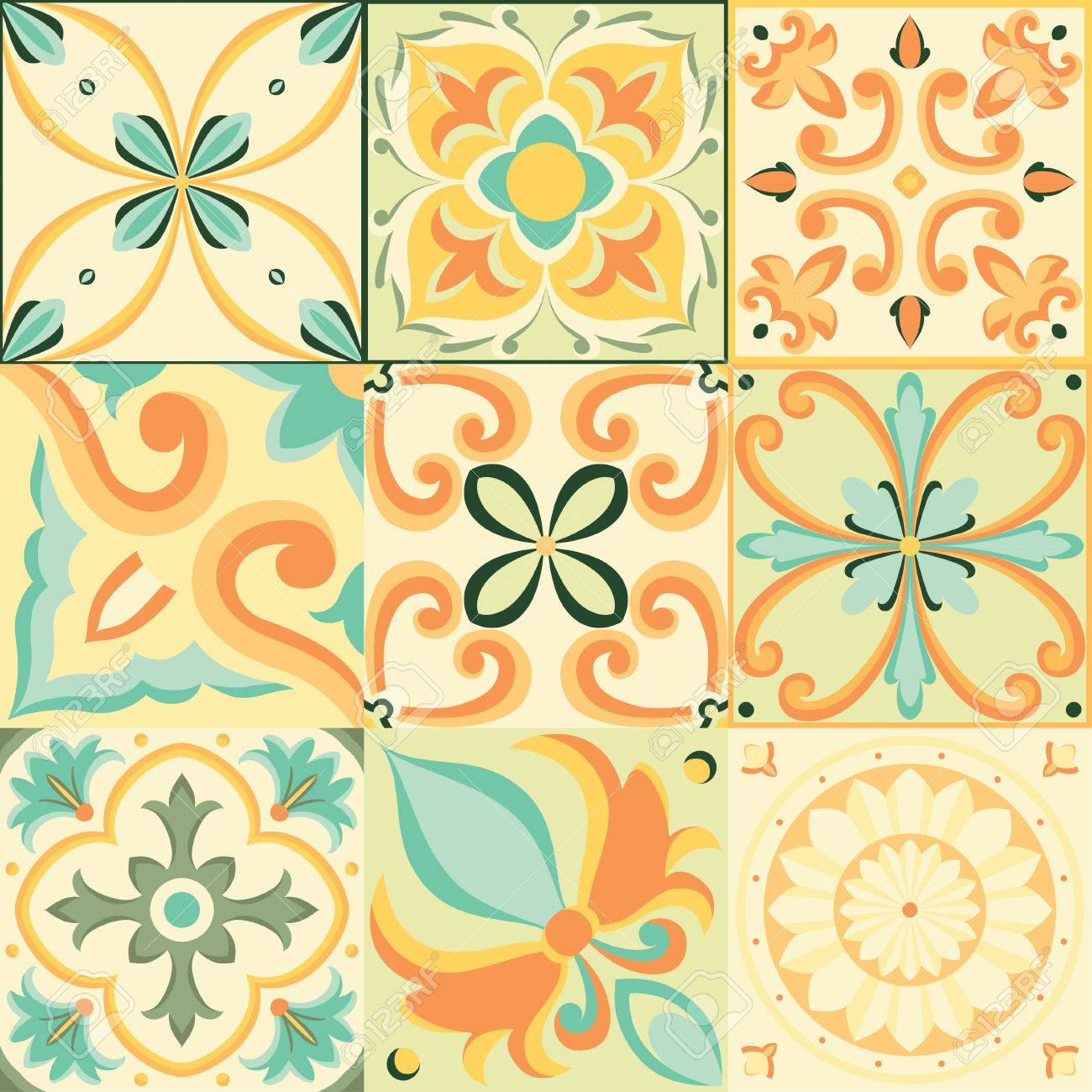 Seamless pattern in Italian style. Vector bright background - 54859967