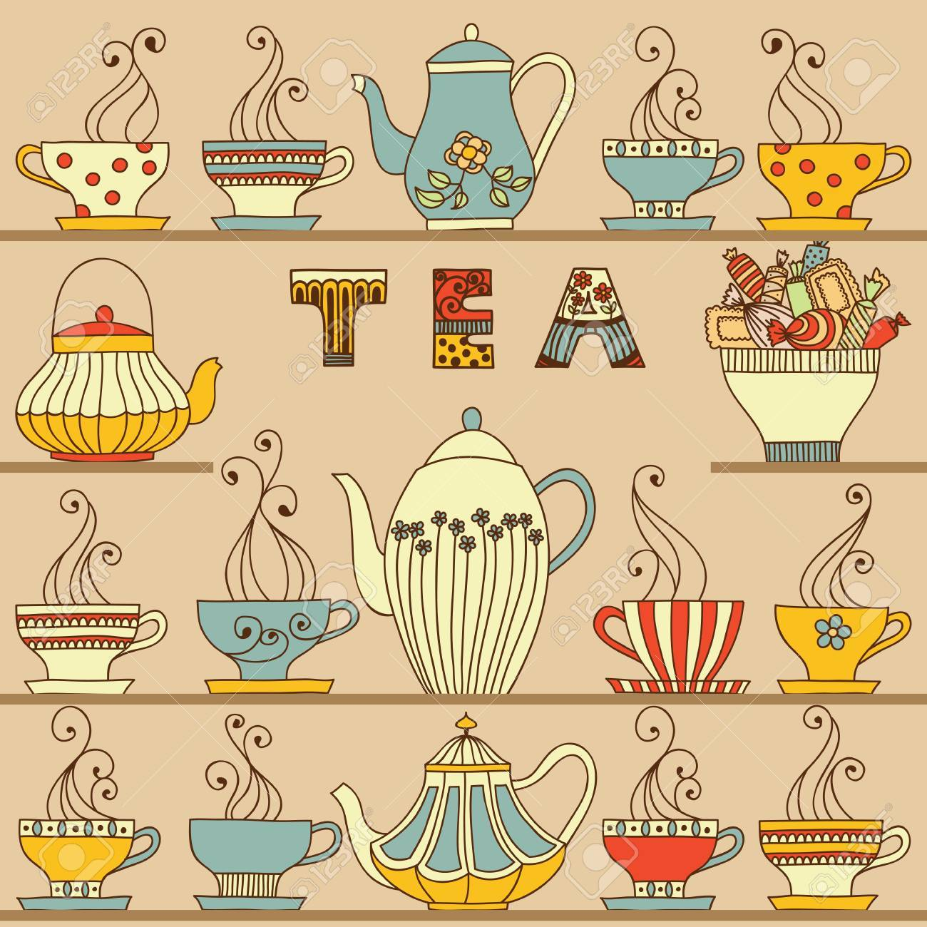 Vector seamless pattern with cups and teapots. - 54860024