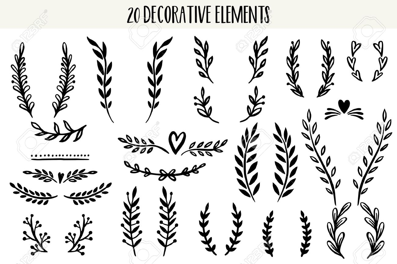 The set of hand drawn vector circular decorative elements for your design. Leaves, swirls, floral elements. - 54860496