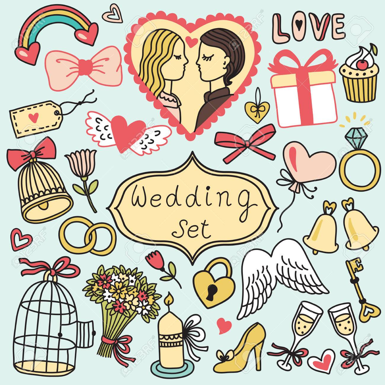 Romantic vector set in cartoon style. Wedding collection - 54860744