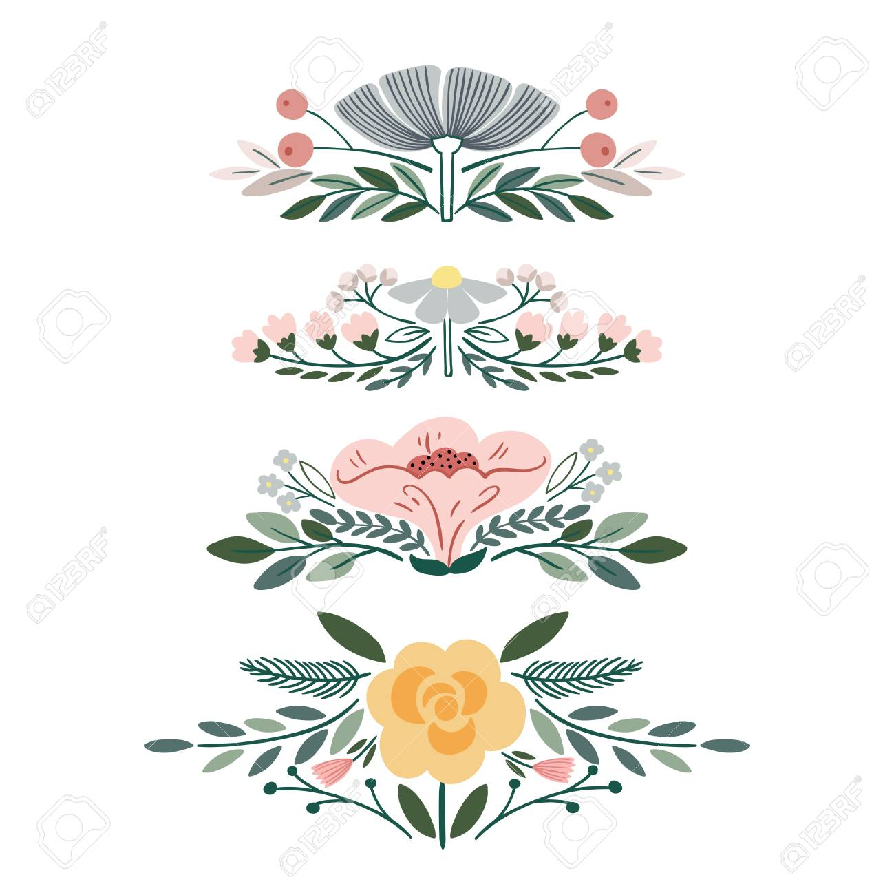 Vector Set With Vintage Flower Bouquets Royalty Free Cliparts ...