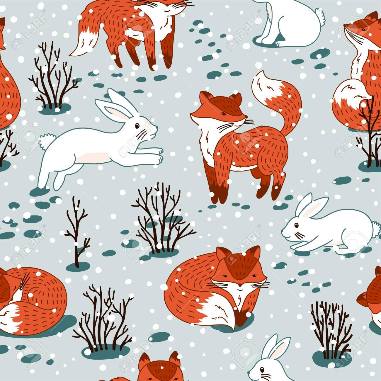赤いキツネと森林の白ウサギ。野生の森林動物とシームレスなパターンを