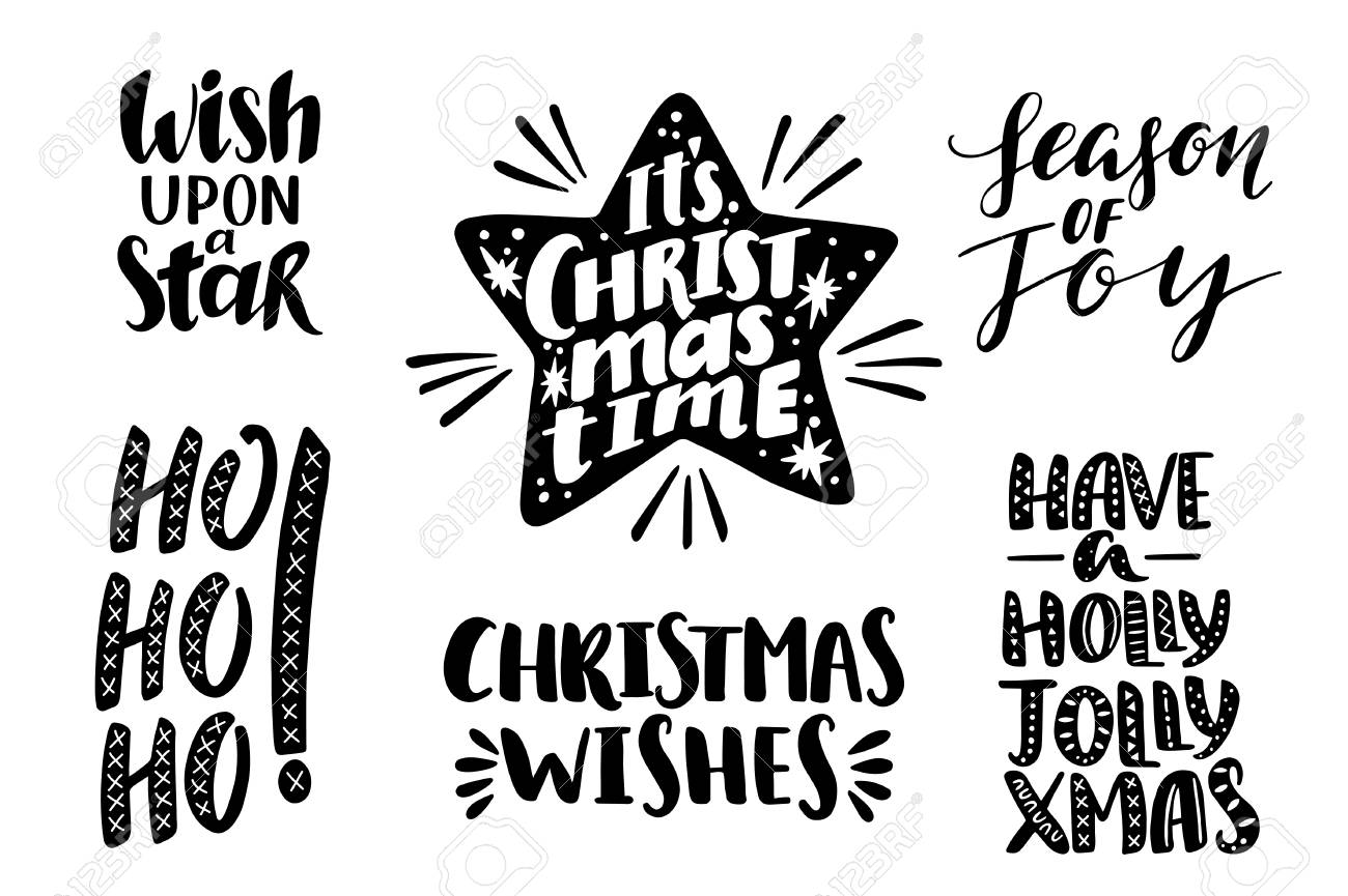 Merry Christmas Quotes Set, Vector Text For Design Greeting Cards ...