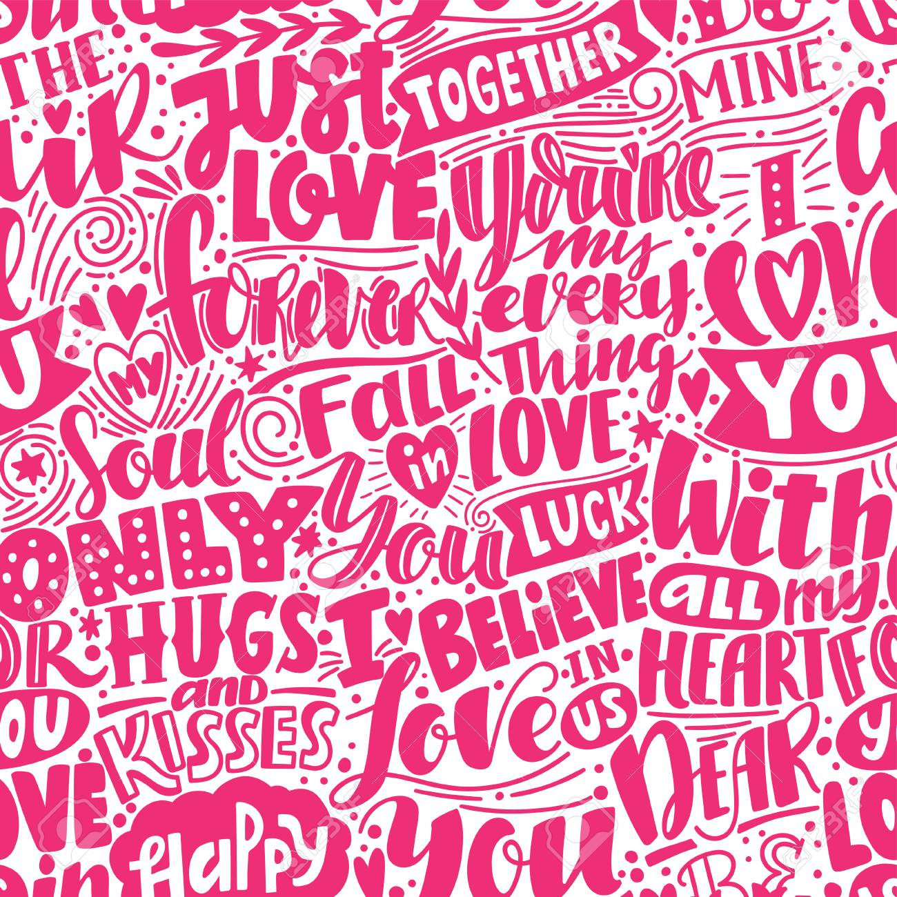 Love Pattern. Pink Seamless Pattern With Phrases And Words About ...