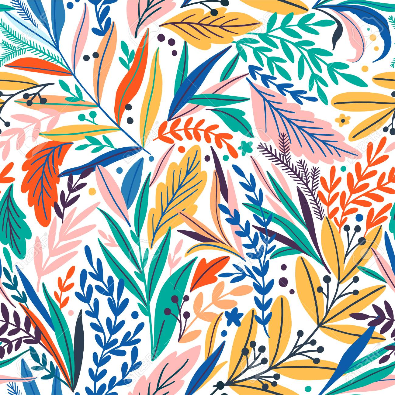 Tropical seamless leaves pattern vector illustration. - 95580959
