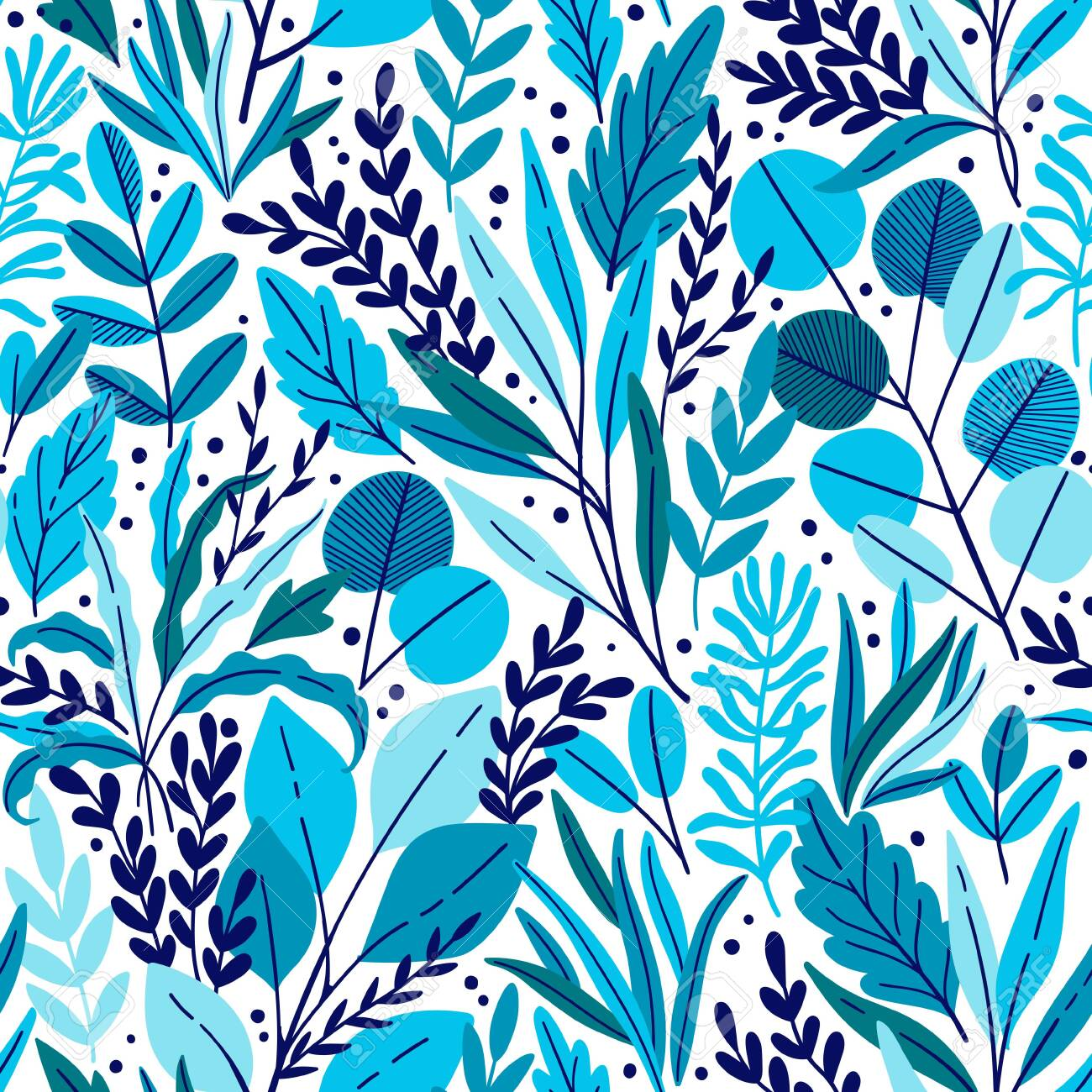 Exotic vector seamless pattern with eucalyptus leaves and plant branches. Tropical floral background - 143512531