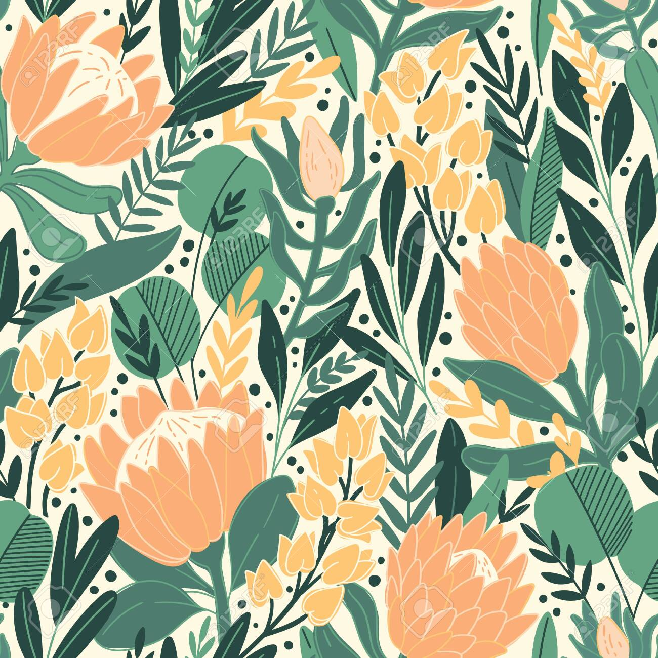 Protea and eucalyptus leaves pattern. Seamless motif for wrapping, wallpaper, fabric, decoration print. Vector illustration - 143512532