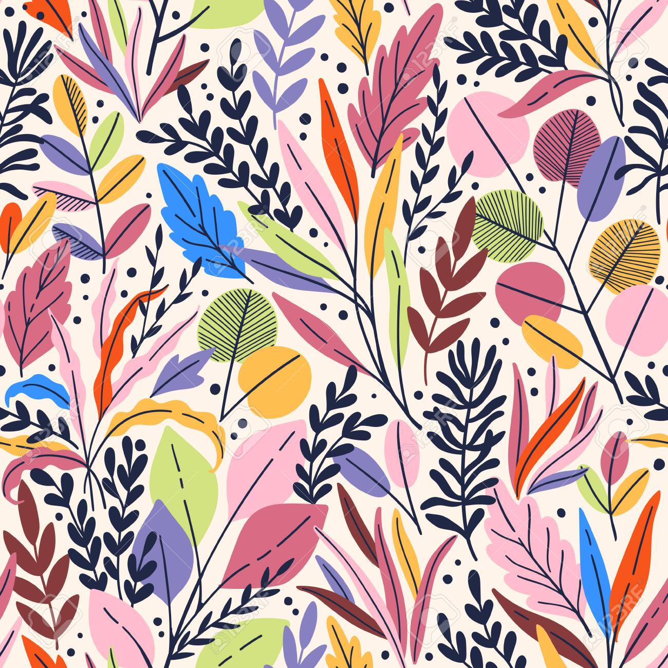 Exotic vector seamless pattern with eucalyptus leaves and plant branches. Tropical floral background - 144102748