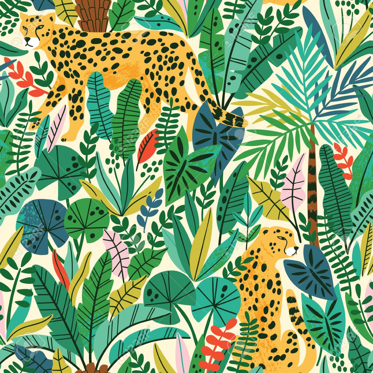 Cheetah with palm leaves exotic seamless pattern. Summer paradise in tropical jungles with wild animals, and fantastic florals. - 144102752