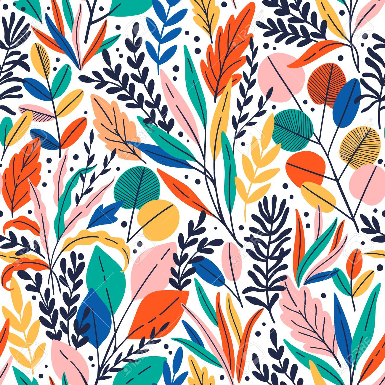 Exotic vector seamless pattern with eucalyptus leaves and plant branches. Tropical floral background - 144102753