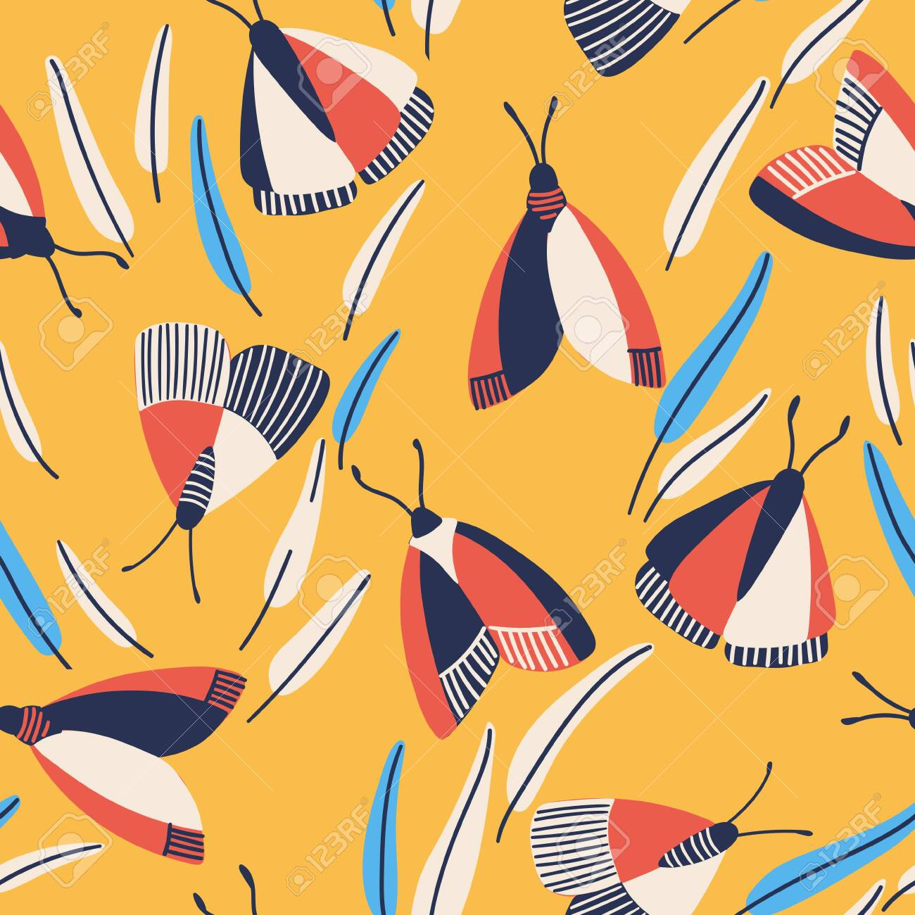 Butterfly pattern. Flying butterflies moths and leaves. Seamless fashion trendy fabric texture. Vector wallpaper. Illustration of seamless textile - 144102754