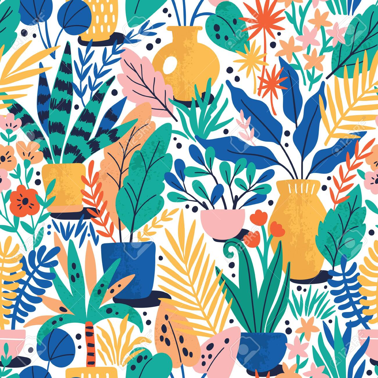 Home plants in ceramic pots vector seamless pattern. Domestic flowers colorful texture. Exotic houseplants in flowerpots illustration - 144102757