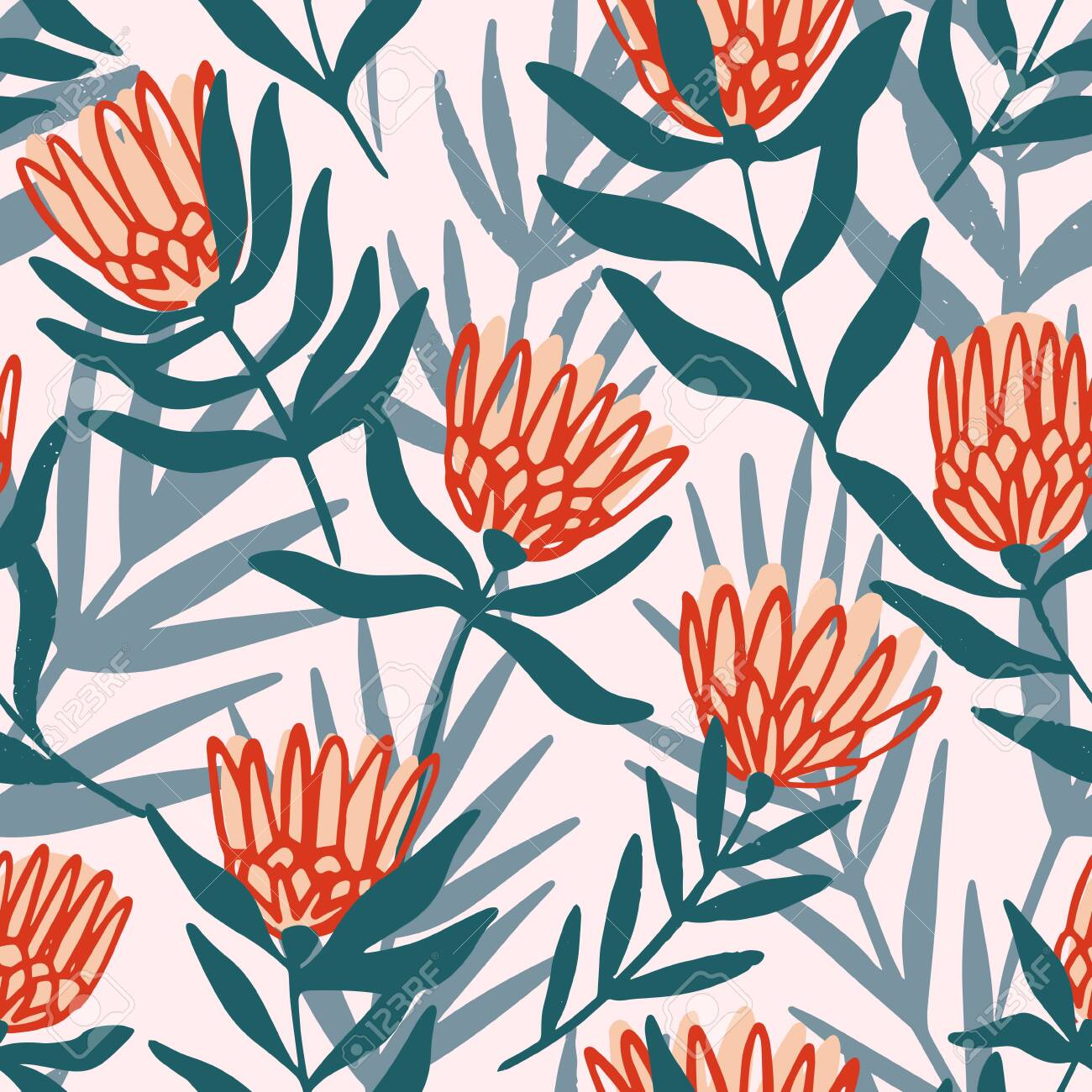 Protea and eucalyptus leaves pattern. Seamless motif for wrapping, wallpaper, fabric, decoration print. Vector illustration - 144102755