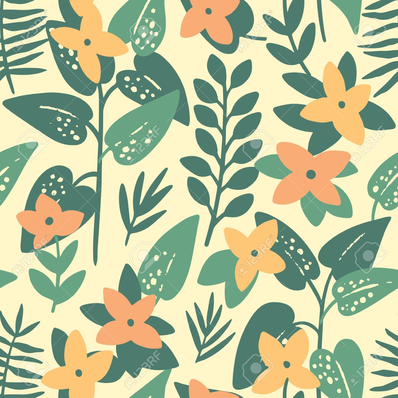Pink frangipani (plumeria) flowers and palm leaves seamless pattern. Tropical background. Retro vector illustration - 144102763