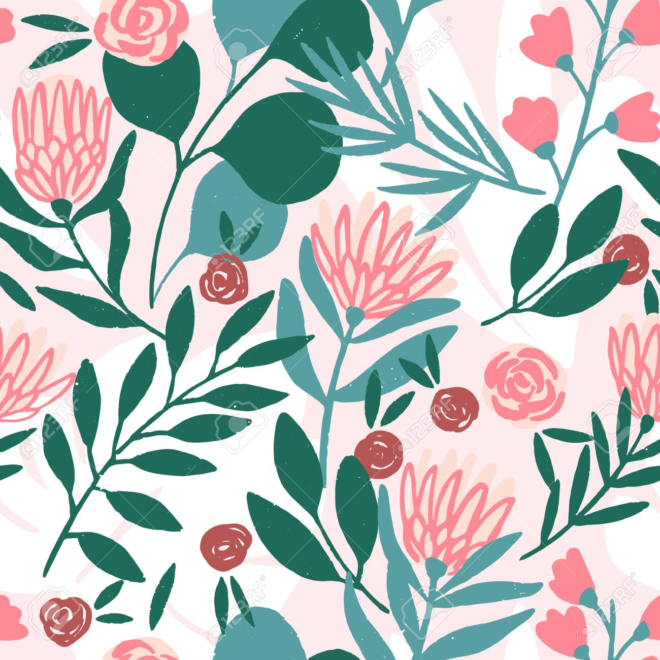 Protea and eucalyptus leaves pattern. Seamless motif for wrapping, wallpaper, fabric, decoration print. Vector illustration - 144102764