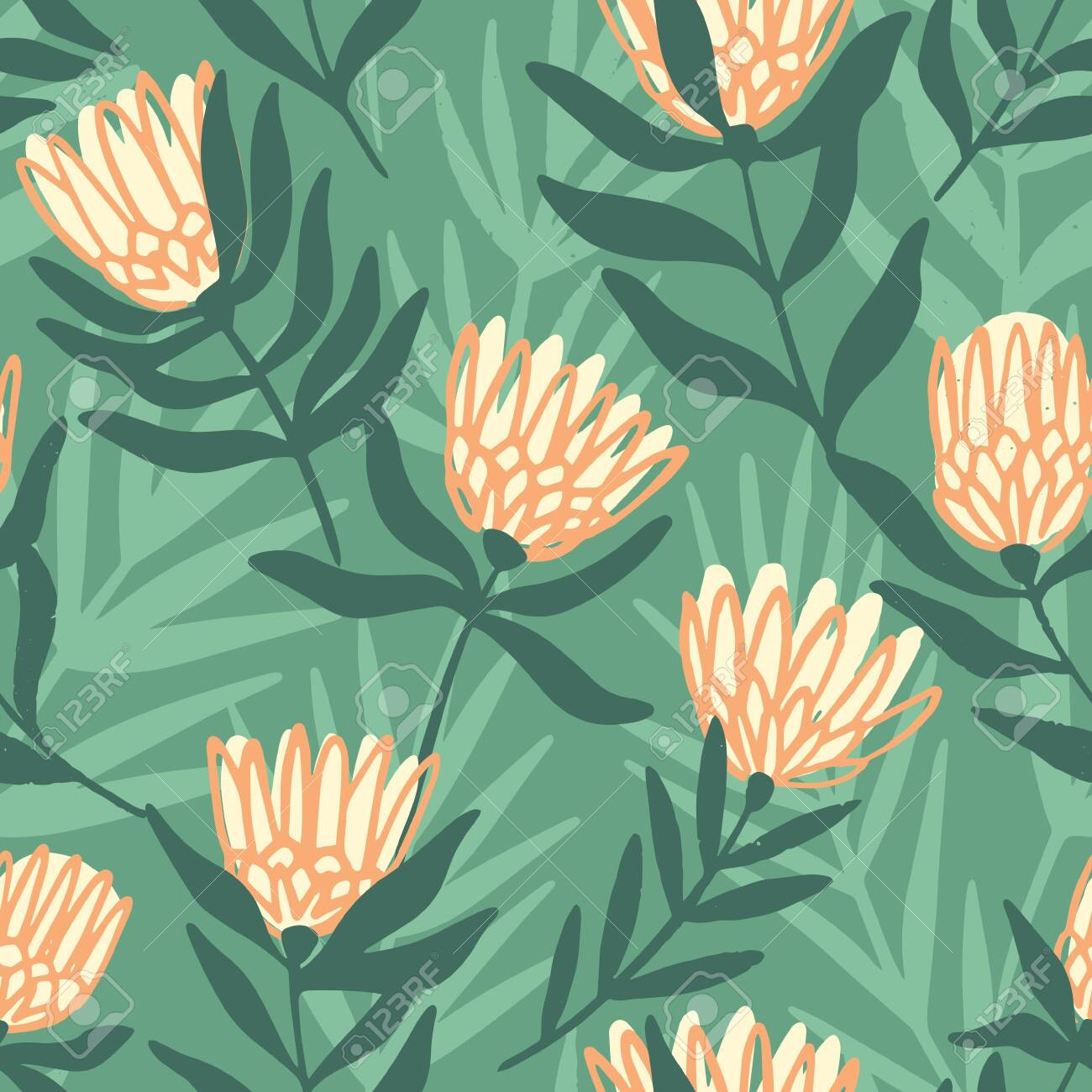 Protea and eucalyptus leaves pattern. Seamless motif for wrapping, wallpaper, fabric, decoration print. Vector illustration - 144102766