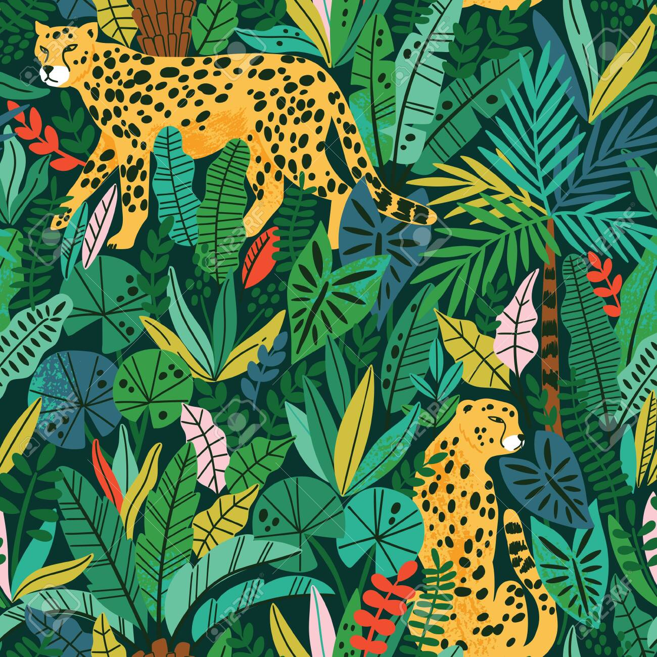 Cheetah with palm leaves exotic seamless pattern. Summer paradise in tropical jungles with wild animals, and fantastic florals. - 144271353