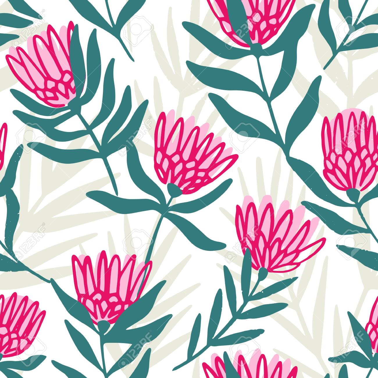Protea and eucalyptus leaves pattern. Seamless motif for wrapping, wallpaper, fabric, decoration print. Vector illustration - 144271355
