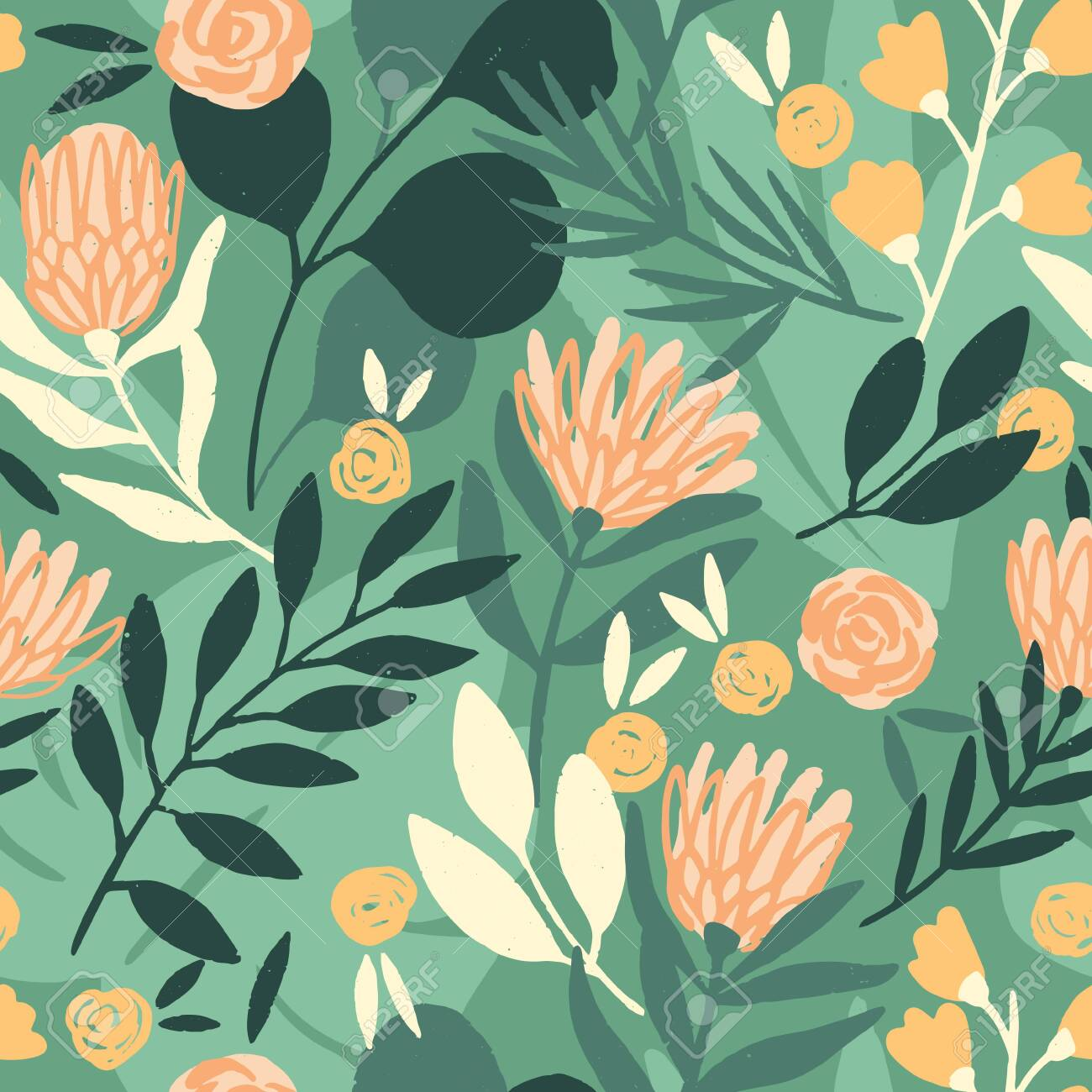 Protea and eucalyptus leaves pattern. Seamless motif for wrapping, wallpaper, fabric, decoration print. Vector illustration - 144271357