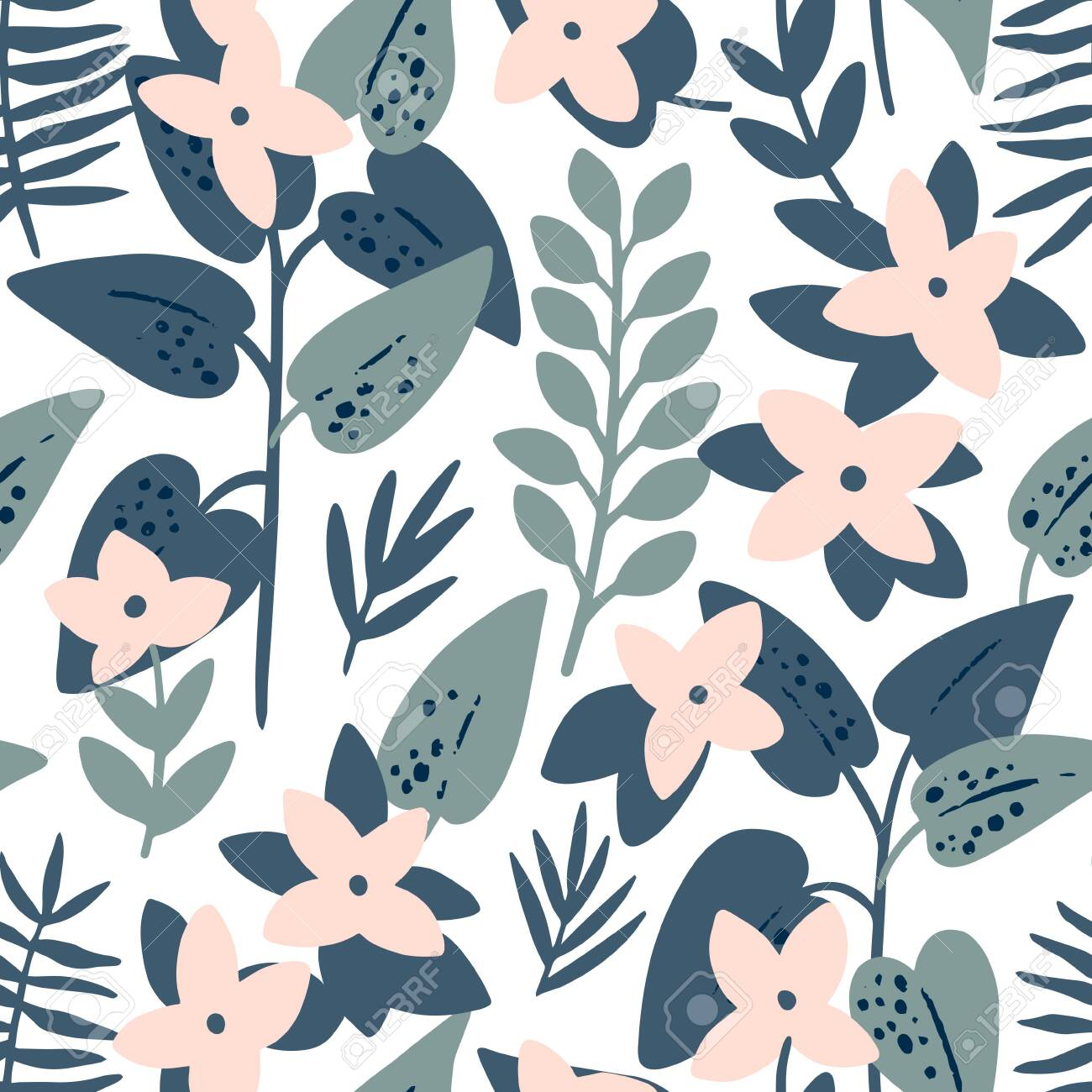 Pink frangipani (plumeria) flowers and palm leaves seamless pattern. Tropical background. Retro vector illustration - 144865742