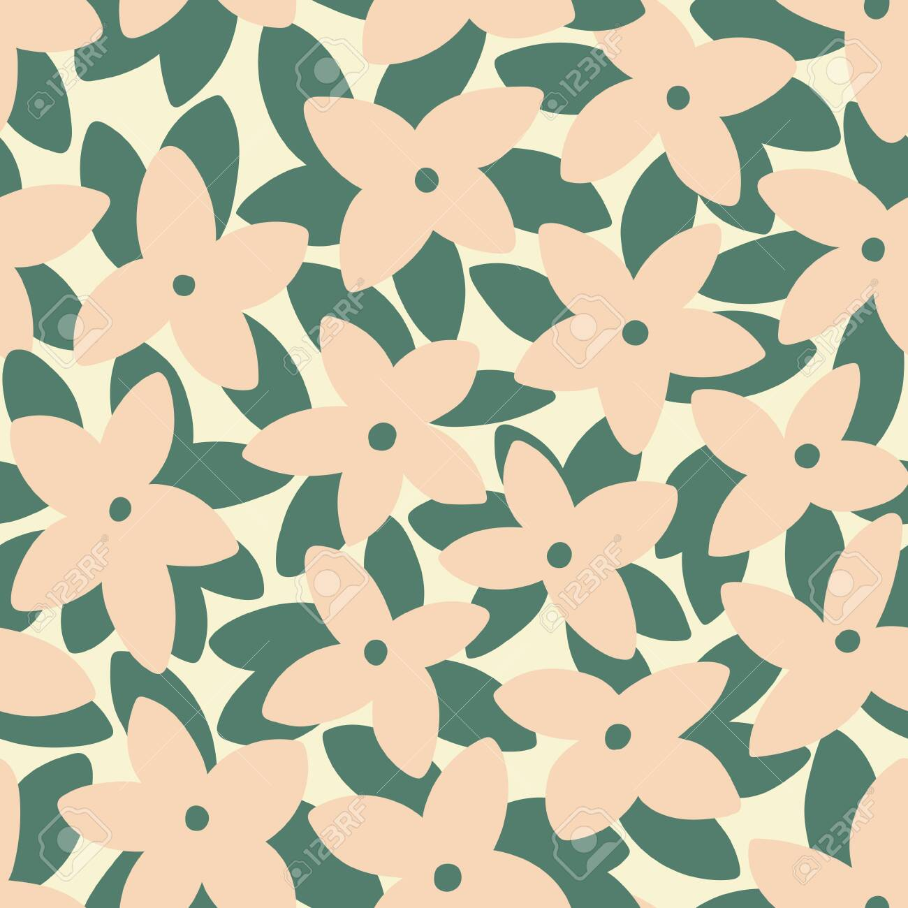 Pink frangipani (plumeria) flowers and palm leaves seamless pattern. Tropical background. Retro vector illustration - 144865743