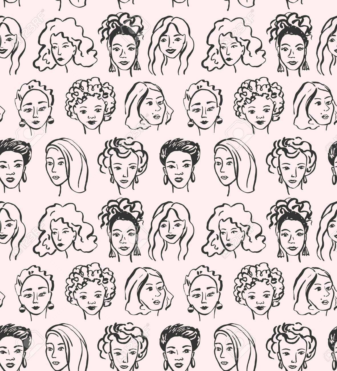 Hand drawn face pattern. Trendy woman face seamless texture with abstract line shapes, minimal girl face. Vector stylized design pattern - 145775831