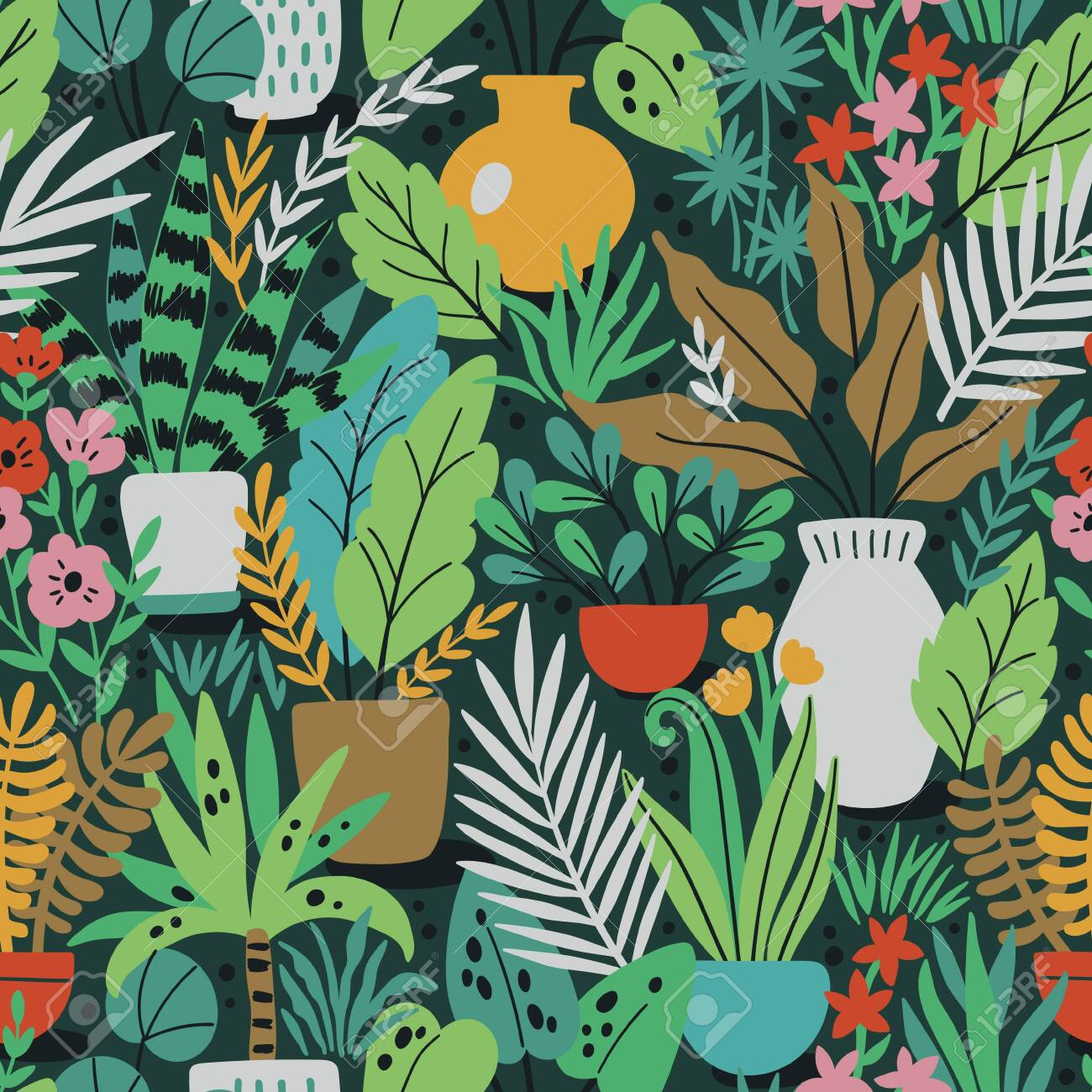 Home plants in ceramic pots vector seamless pattern. Domestic flowers colorful texture. Exotic houseplants in flowerpots illustration - 145775830
