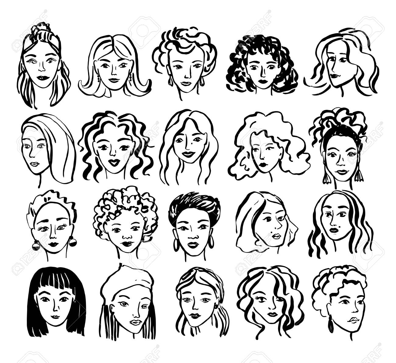 Hand drawn face collection. Trendy woman face set with abstract line shapes, minimal girl face. Vector stylized design illustration - 145775832