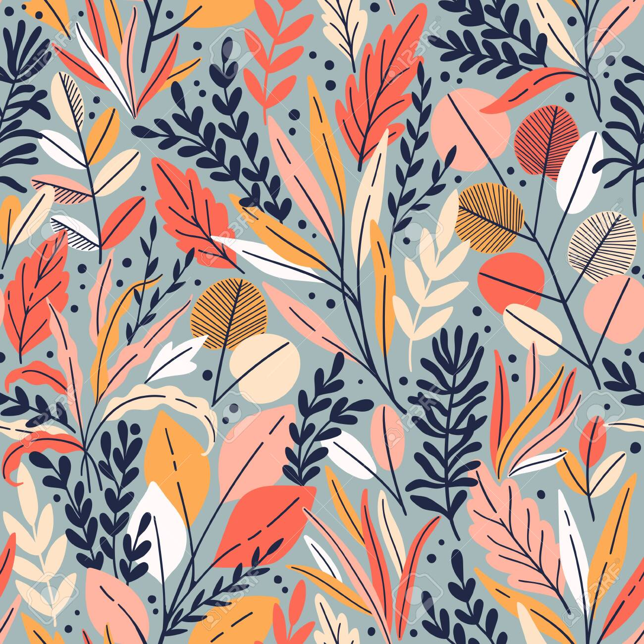 Exotic vector seamless pattern with eucalyptus leaves and plant branches. Tropical floral background - 145775834